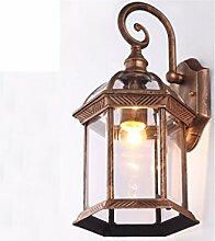 PIGE Continental wasserdichte Außenwandleuchte Jahrgang Wandleuchte Außenleuchte Villa Lampe Glas Balkon Gartenlampen ( Farbe : Kupfer )