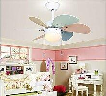 PIGE Kinder einfache Art und Weise Ventilator Licht Kronleuchter Prinzessin Zimmer mit Ventilator Licht Deckenventilator Licht Schlafzimmer moderne Wohnzimmer Speise (Energieeffizienzklasse A +)