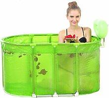 PIGE Sauna Bad mit zwei großen Falt Handtuch Erwachsene Wanne Edelstahl Stent Tub ( Farbe : Grün )