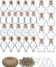 PIGMANA 50 Stück Mini Glasflaschen Wünschen,