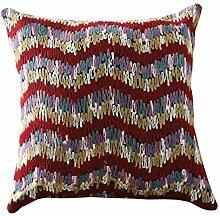 Pillow Cushion,Sofa Backrest Pillow,Linen Car Waist Pillow-B 45x45cm(18x18inch)VersionB