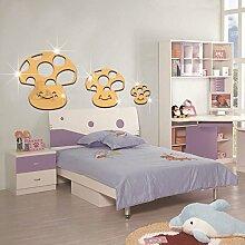 Pilze Abnehmbar Acryl Spiegel Wandaufkleber Selbstklebend Kinderzimmer Dekoriert,Gold-56*27cm