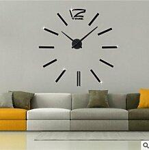 Ping0fm Kreative Wanduhr Wohnzimmer Wanduhr personalisierte Acryl diy Spiegel Wanduhr Wanduhren,20 Zoll,Schwarz