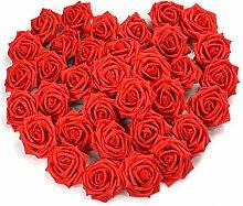 Pingenaneer 50 Stück Schaumrosen Schöne Kunstblume Hochzeit Deko künstlicher Blumen für Hochzeitsdeko und Tisch Dekoration Durchmesser: 8cm , Länge: 18cm Ro