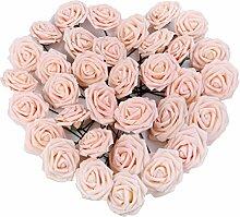 Pingenaneer 50 Stück Schaumrosen Schöne Kunstblume Hochzeit Deko künstlicher Blumen für Hochzeitsdeko und Tisch Dekoration Durchmesser: 8cm , Länge: 18cm Champagner