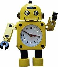 Pingenaneer Kinder Wecker Stille Analog Quarzwecker, Metall Roboter-Design wecker, Lauter Alarm, Ohne Ticken, Schlummerfunktion, Batteriebetrieben - Gelb