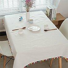Pingenaneer Leinen Tischdecke Weiß mit bunter