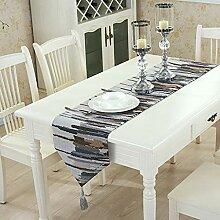 Pingrog Leinen Baumwolle Multicolor Tischläufer