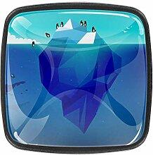 Pinguin und Iceberg Schrankknäufe aus Glas,