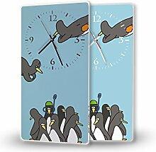 Pinguine - Lautlose Wanduhr mit Fotodruck auf