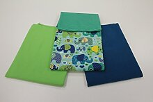 Pinidi Stoffpaket/4 x 50cm/beste Jersey-Qualität/Jersey/Stoffpaket Elefant grün/petrol türkis
