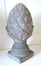 Pinie Keramik Pinienzapfen Skulptur grau ca. 25cm Gartenskulptur Gartendekoration Deko Zapfen