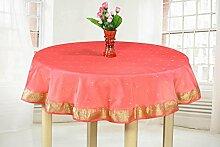 Pink–handgefertigt Sari Tischdecke (Indien)–Rund, Polyester, Pink, 70 Inches