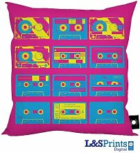 Pink Blau & Gelb Pop Art Tapes Design Kissen 45,7x 45,7cm hergestellt in Yorkshire tolle Geschenkidee