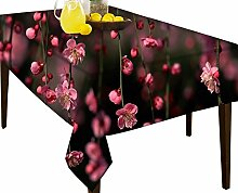 Pink einfach Blumen wasserabweisend Tischdecke Esstisch Cover Protector, Vinyl, multi, 54 x 71