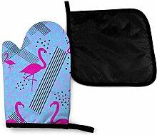 Pink Flamingos Art Mikrowelle Ofenhandschuhe und