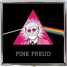 Pink Freud Pill Box / Compact Mirror - Sigmund Freud / Pink Floyd Mash Up