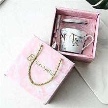 Pink Gold Keramik Marmor Kaffeetasse Hochzeit