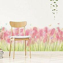 Pink Grass Baseboard Wandaufkleber für Wohnzimmer