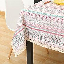 Pink green stripes frische cotton tischtuch lace edge festival party picknick dekoration-A 110x110cm(43x43inch)