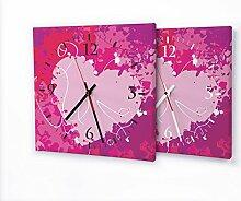 Pink Splash - Lautlose Wanduhr mit Fotodruck auf Leinwand Keilrahmen | geräuschlos kein Ticken Fotouhr Bilderuhr Motivuhr Küchenuhr modern hochwertig Quarz | Variante:30 cm x 30 cm mit schwarzen Zeigern - GERÄUSCHLOS