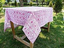 Pink Tischdecke, geometrischen Print, 2,5cm Saum Grenze, 100% Baumwolle Tischdecke, Größen erhältlich, baumwolle, rose, 54x54