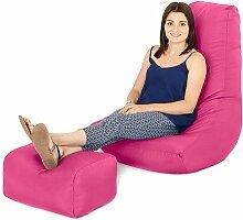 Pink Wasserfest Außenbereich Gaming Sitzsack Highback Lounger Sessel und Fußhocker