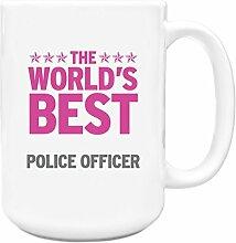 Pink Worlds Best Police Officer Big 444ml Becher 291