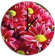 pinke Blüten, Wanduhr Durchmesser 48cm mit schwarzen spitzen Zeigern und Ziffernblatt, Dekoartikel, Designuhr, Aluverbund sehr schön für Wohnzimmer, Kinderzimmer, Arbeitszimmer