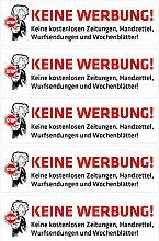 pinkelephant Aufkleber / Briefkastenaufkleber STOP - Keine Werbung - 01 - 70 mm x 20 mm - 5 Stück - Zusteller-Schreck