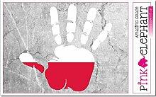 pinkelephant Aufkleber - Polen - Hand - Handabdruck - Fahne - 21 cm x 20 cm - Laptop Sticker skin flag