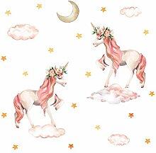 Pinkes Einhorn-Wandaufkleber, Pferd,