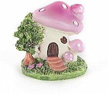 Pinkes Pilzhaus mit geschlossener Tür aus Harz DIY Gartendeko Puppenhaus-Ausschmückung Miniatur Mini-Welt als Geschenk
