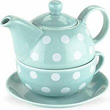Pinky Up Addison Tee-Set für 1 Person, gepunktet,