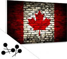 Pinnwände - Memoboard Maple Leaf Flagge Maueroptik inkl. 5 Pinnnadeln