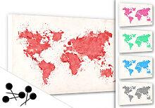 Pinnwände - Memoboard Weltkarte Aquarell inkl. 5 Pinnnadeln