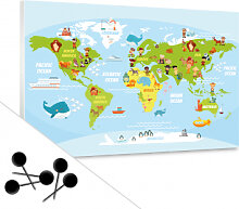 Pinnwände - Pinnwand Lustige Kinder Weltkarte