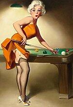 Pinup / pin up sexy frau am billiard tisch snooker table pool table erotik blechschild