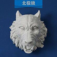 PinWei_ Amerikanische kreative Stereo-Wand-tierischen Kopf tierische Wandsticker Wand Dekoration bar,Ein Polarwolf