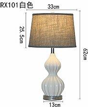 PinWei_ Europäische Lampe Nachttischlampe Schlafzimmer amerikanischen kreative warm minimalistischen modernen Nordic Light dekorative Tischleuchte,R101 weiß