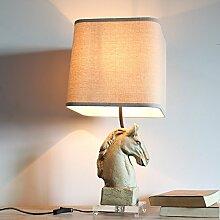 PinWei_ Kreative Retro-Art Harz Pferd Kopf Lampe am Bett Schlafzimmer Tischleuchte 330 * 680mm