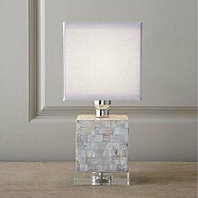 PinWei_ Kreative Retro-weiße Schale Stoff Arts Tischleuchten, Tisch Lampe Schlafzimmer Wohnzimmer Kristallhotel 300 * 560mm