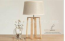 PinWei@Massivholztisch Lampe, Holztisch Lampen Stativ Tischleuchte, Tischlampe, Nachttischlampe Schlafzimmer
