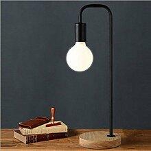 PinWei@Massivholztisch Lampe, Holztisch Lampen Stativ Tischleuchte, Tischlampe, Nachttischlampe Schlafzimmer,Schwarz,15 * 47cm