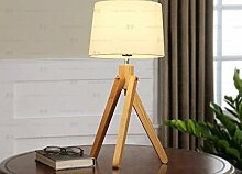 PinWei@ Massivholztisch Lampe, Holztisch Lampen Stativ Tischleuchte, Tischlampe, Nachttischlampe Schlafzimmer