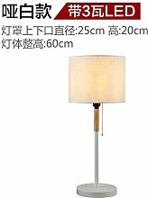 PinWei@ Nordische einfache Massivholztisch Lampe modern, warm Nachttischlampe Schlafzimmer,Matt White