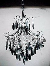 PinWei@ Pendelleuchte Lampe Schlafzimmer Wohnzimmer Lampe Kronleuchter Eisen Treppe Restaurant Kristallleuchter,55 * 44cm
