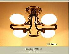 PinWei@ Plum Blossom Form Decke Lampe Glas Schatten Deckenleuchte,Vier-Kopf
