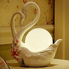 PinWei@ Swan Lily Lampe, Harz Weihnachtsgeschenke, Tischleuchte, Hochzeitsdekoration, Handwerk Geschenk,Weiß