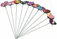 Pinzhi 10X Schüttelt Gartendeko Schmetterling Pflanzen Deko Gartenstecker Sommer (7cm, Einlagige)